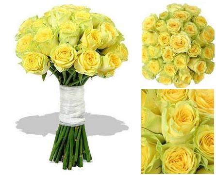 21 adet sarı güller ile hazırlanmış gelin buketi