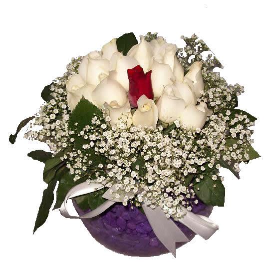 Akvaryum vazoda 14 beyaz 1 kırmızı güllerden hazırlanmış özel tasarım