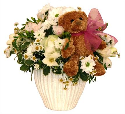 Yeni doğum için mevsim çiçeklerinden aranjman