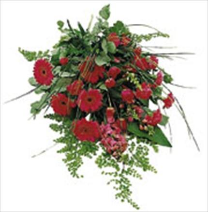 Kırmızı mevsim çiçeklerinden buket