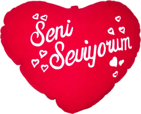 Tutkulu aşkın rengi kırmızı kalp yastık (30-30 cm)