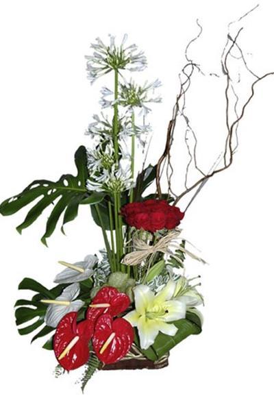 Özel tasarlanmış antoryum ve güllerin seramosi
