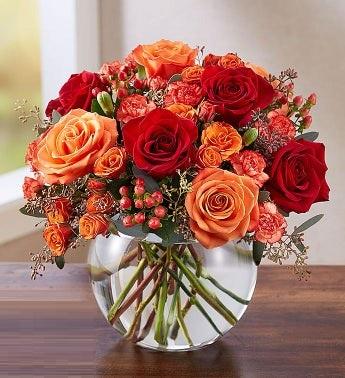 Canusta kırmızı gül ve sonbahar renkli güllerden butik tasarım/ Ürünler : 5 adet kırmızı gül 5 adet sonbahar gülü ve sonbahar çardak güllerinden aranjman