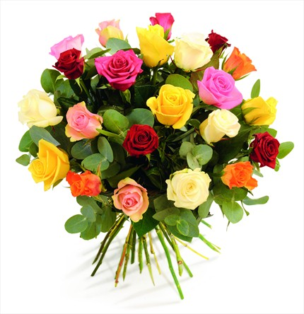 Renkli güllerden hazırlanmış şık buket