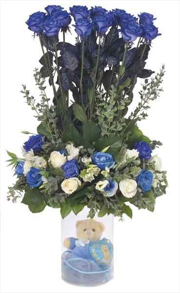 Mavi ve beyaz güllerle hazırlanmış erkek bebek aranjmanı