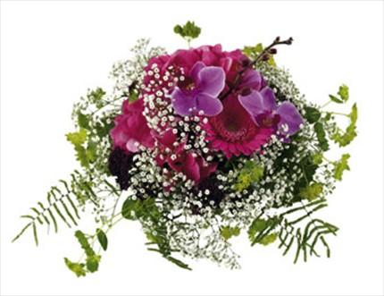 Pembe mevsim çiçeklerinden hazırlanmış arajman
