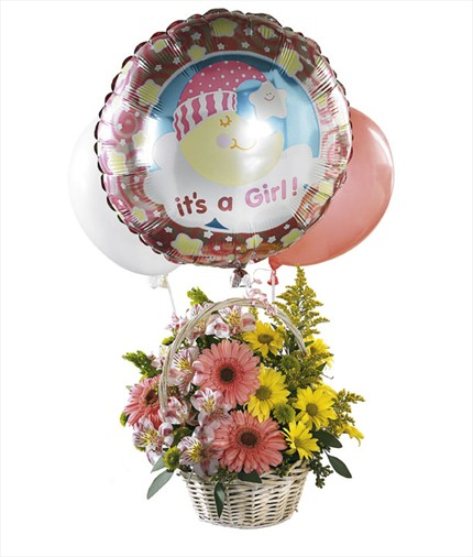 Balonlu kız bebek aranjmanı