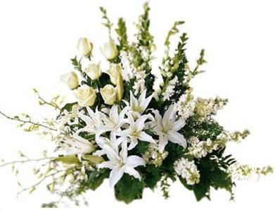Beyaz renkli çiçeklerden yuvarlak cenaze aranjmanı
