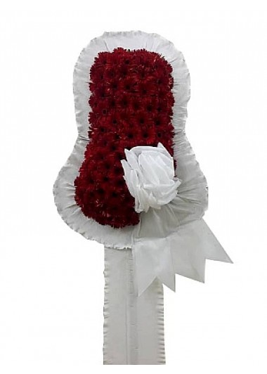 Kırmızı açılış düğün çiçeği /Kırmızı renkte cerberalardan hazırlanmış düğün ve kutlama çiçeği çelenk duvak ortalama boy (240-250 cm)