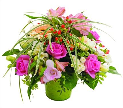 Pembe çeşitli tonlarda şık çiçek aranjmanı
