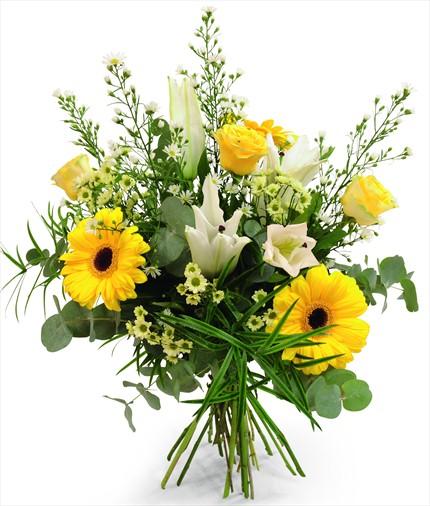 Beyaz lilyum ve sarı güllerle hazırlanmış mevsim buketi