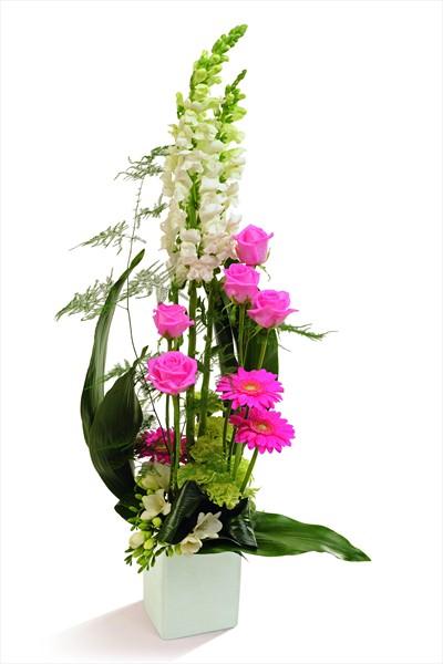 Pembe ve beyaz çiçeklerle hazırlanmış arnjman