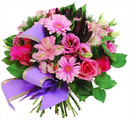 Pembe mevsim çiçeklernden buket