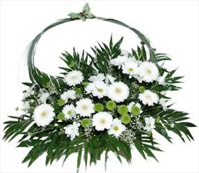 Beyaz mevsim çiçeklerinden aranjman