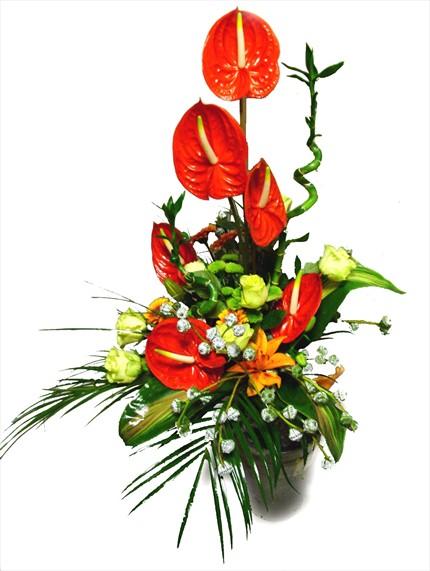 Antorihum ve mevsim çiçeklerinden hazırlanmış şık aranjman
