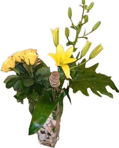 Sarı mevsim çiçeklerinden aranjman