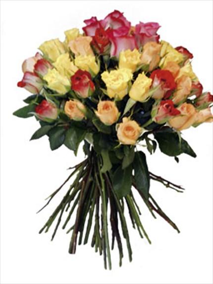 Extra renkli güllerden buket