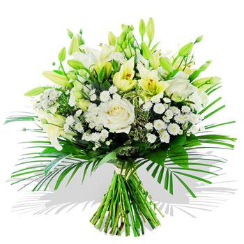 Beyaz lilyumlar ve beyaz güllerden hazırlanmış özel buket