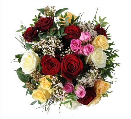 Hoş kokulu renkli güllerden buket