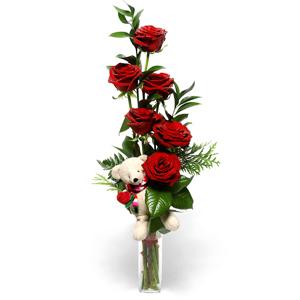 6 adet kırmızı güllerden hazırlanmış aranjman
