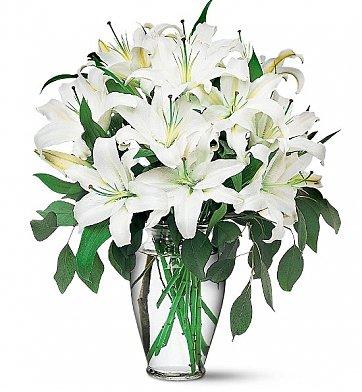 Cam vazoda beyaz lilyum aşkı / Testi cam vazoda 10 adet beyaz lilyum ile hazırlanmış butik tasarım