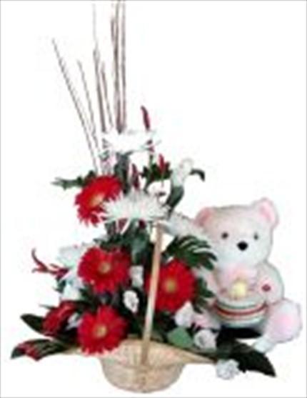 Kırmızı beyaz çiçeklerle hazırlanmış bebek aranjmanı