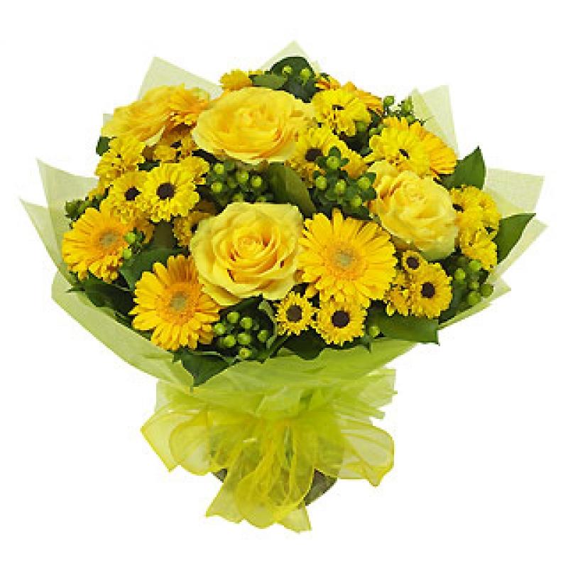 Sarı gül ve sarı cerberalar ile hazırlanmış butik tasarım buket