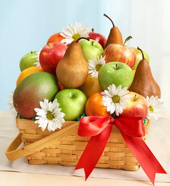 Elma armut kivi portakal ile sepette mevsim meyveleri