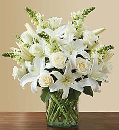 Mis kokulu beyazbüyü / 1 adet silindir cam vazo 13 adet lilyum 11 adet beyaz gül 7 adet kokulu şebboy