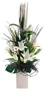Seramik vazo içerisine beyaz lilyumlardan hazırlanmış arajman