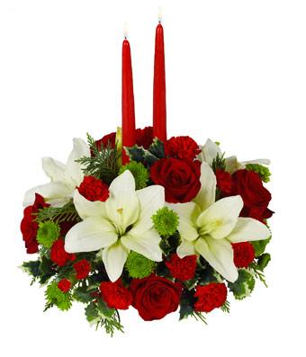 Yılbaşı renkli tasarım aranjman /Kırmızı gül Lilyum yeşil kırzantem ve kırmızı güller ile hazırlanmış yeni yıl (yılbaşı) aranjmanı