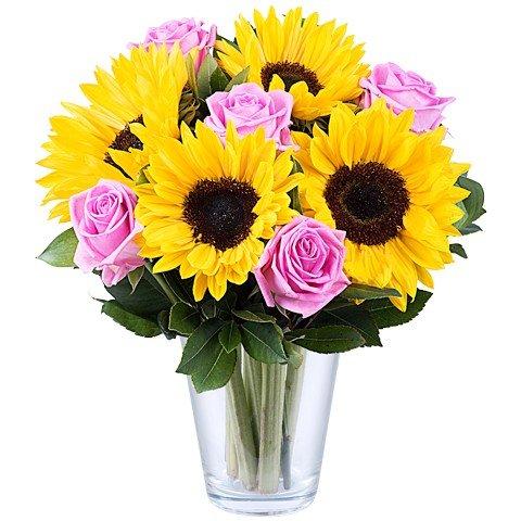 Gün ışığı fantastik /5 adet ay çiçeği ve 5 adet pembe güllerden hazırlanmış aranjman