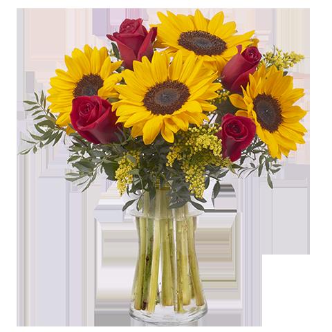 Sıcak güneş ayçiçekleri/5 adet ay çiçeği ve 5 adet kırmızı güllerden hazırlanmış butik tasarım aranjman