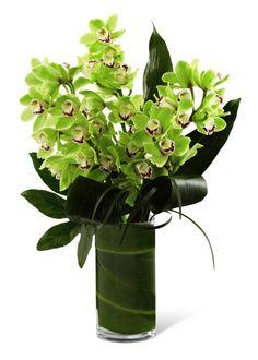 Cam vazoda orkideler / Yurt dışında özel ithal 5 dal cimbidyum orkideler ile hazırlanmım butik tasarım