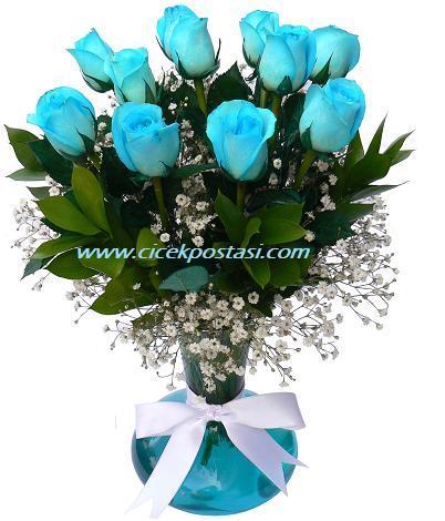 Cam vazo içerisine 11 adet mavi güllerden hazırlanmış özel aranjman