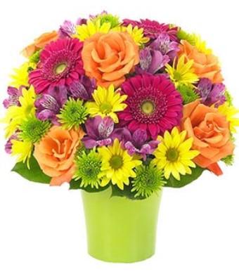 Rengarenk mevsim çiçekleri/Renkli güller papatya ve cerberalar ile hazırlanmış butik tasarım ara