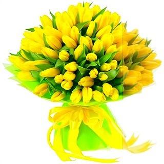 Yurt dışından ithal muhteşem sarı laleler /yurtdışından ithal edilmiş 41 adet sarı lalelerden hazırlanmış butik tasarım buket