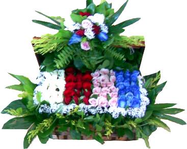 Sandık içerisinde farklı renkte güllerin sunumu vip tasarım